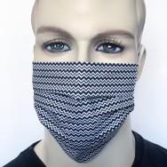 Waschbare Baumwoll-Mund- und Nasenmaske-  2-lagig - Zickzack schwarz-weiß
